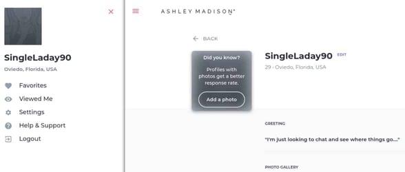 Screenshot of an Ashley Madison profile