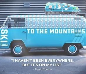Photo of a Ski.com tour van