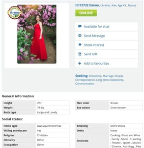 Screenshot of a UkrainianDating profile