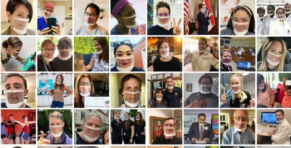 Photos of people wearing ClearMask