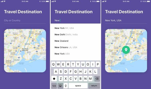 Screenshots from the YourTravelMates app