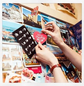 Photo of a heart among postcards