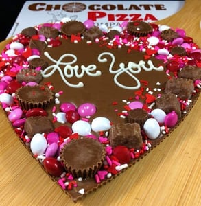 A heart-shaped Chocolate Pizza