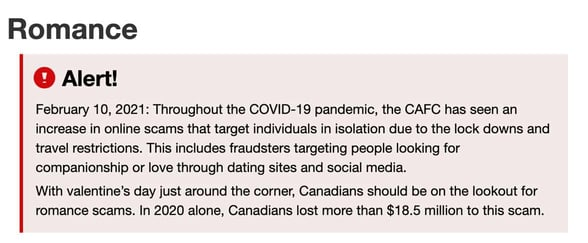Screenshot Canadian Anti-Fraud Centre romance alert