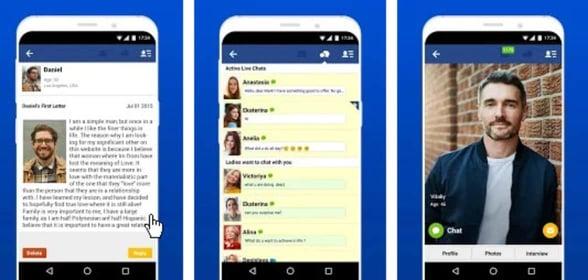 Screenshots of the AnastasiaDate app