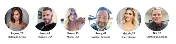 Screenshot of Dream Singles profiles