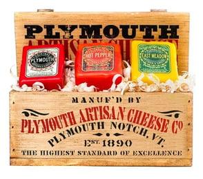 Photo of a Plymouth Artisan Cheese sampler box