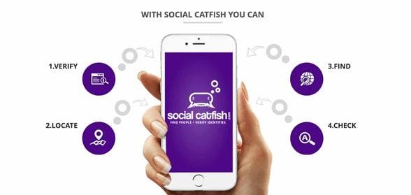 Screenshot of Social Catfish features