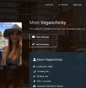 Screenshot of a CFdating profile
