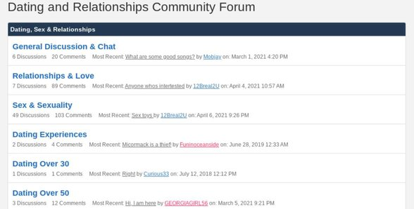 Screenshot of the discussion forum