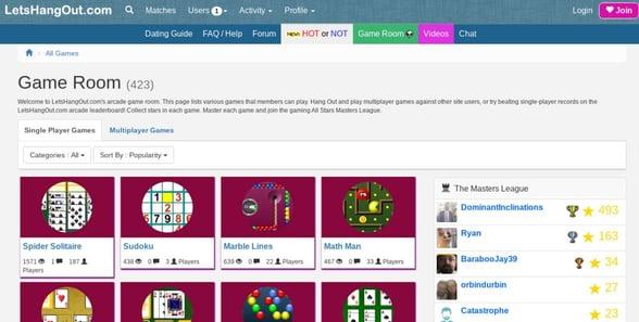Screenshot of the game room