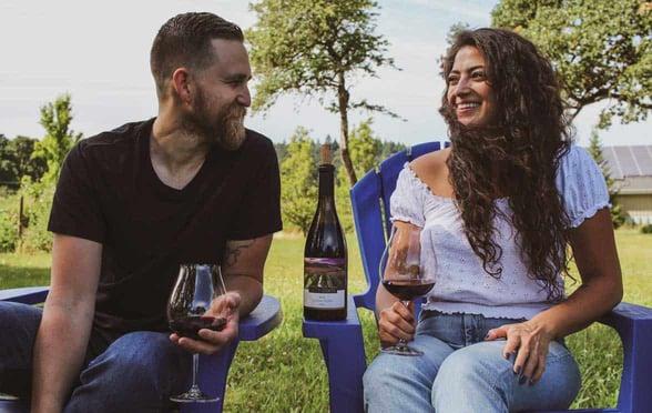 Photo of couples enjoying Left Coast Estate wine