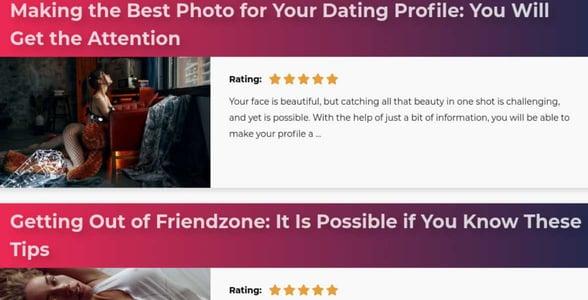 Screenshot of the blog