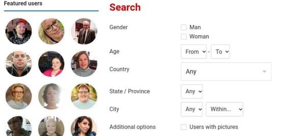 Screenshot of the search tab
