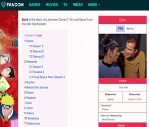 Screenshot of the Spirk page