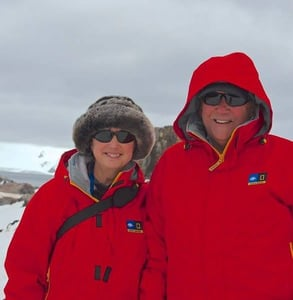 Photo of charles and Elizabeth in Antarctica