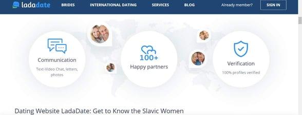 Screenshot of LadaDate's features