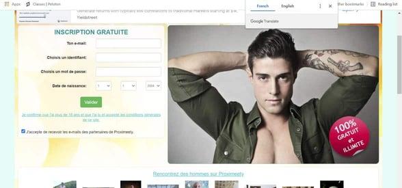 Screenshot of Proximeety's LGBTQ page