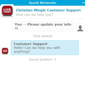 Screenshot of the Christian Mingle live chat