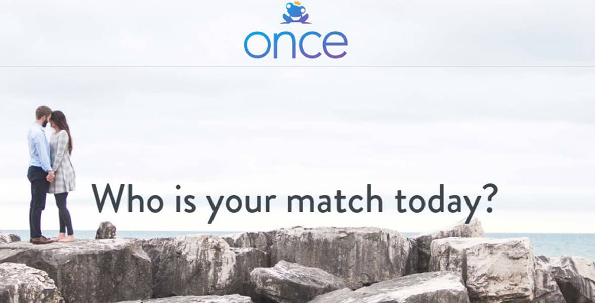 Screenshot of the Once homepage