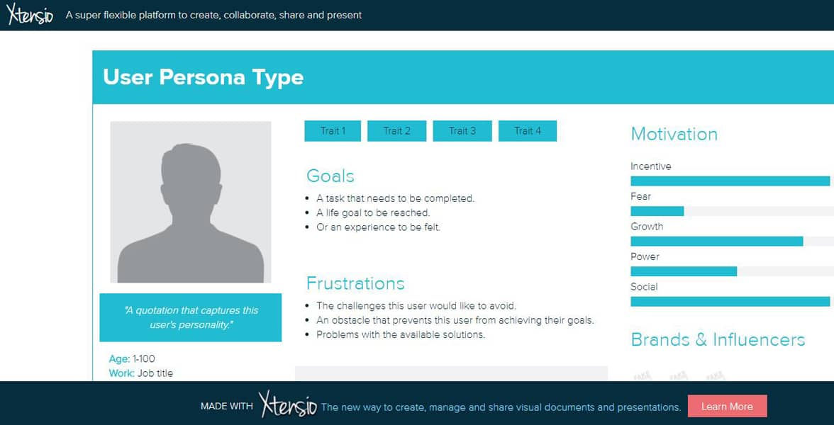 Screenshot of a persona template