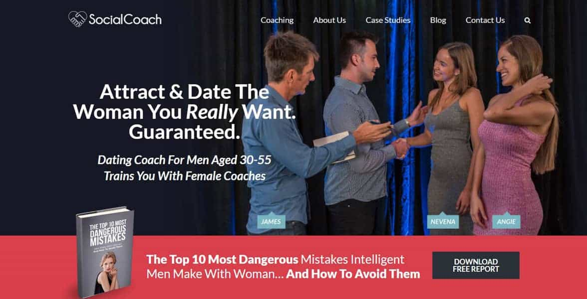 Screenshot of the SocialCoach website