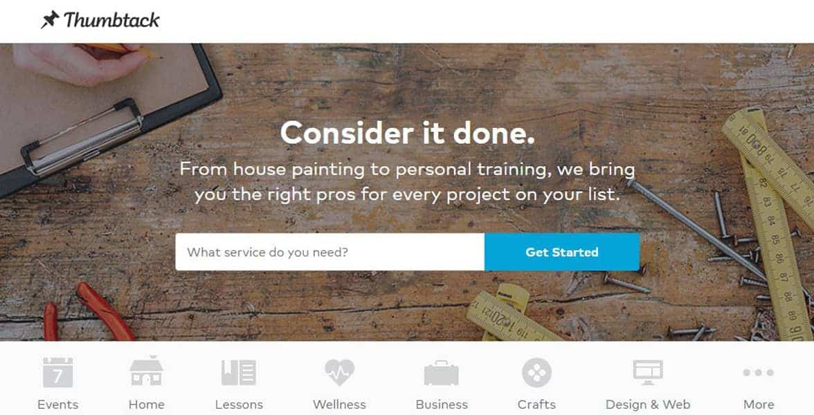 Screenshot of Thumbtack's homepage
