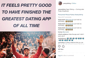 Screenshot of Yeezy.dating's Instagram post