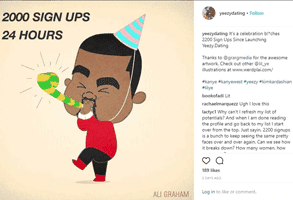 A cartoon of Kanye West celebrating