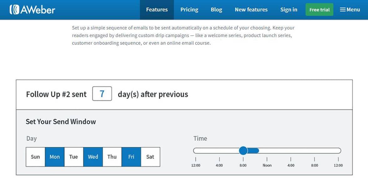 Screenshot of AWeber's website