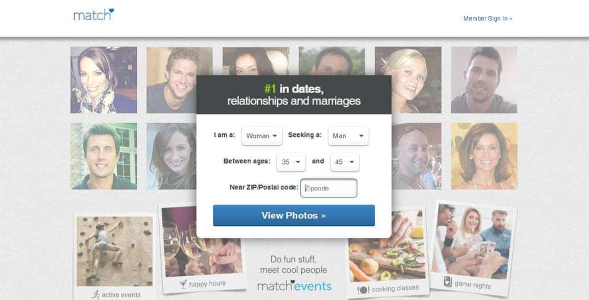 Screenshot of Match.com's sign-up page