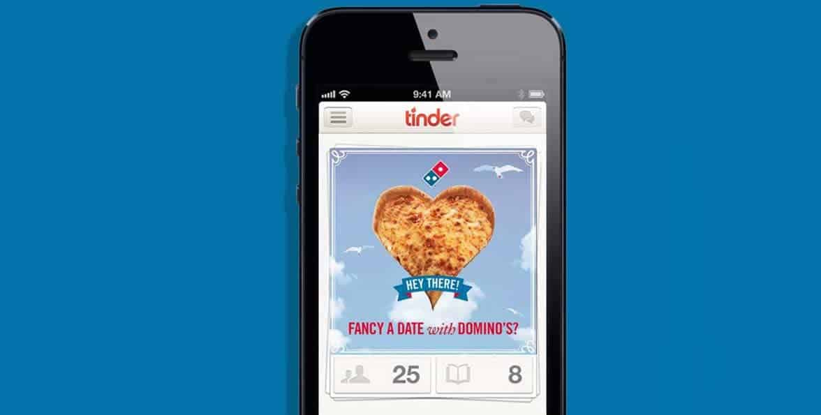 Photo of the Tinder and Domino's campaign