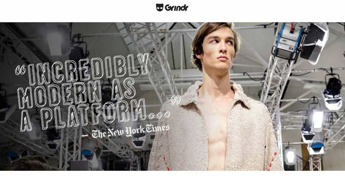 Screenshot from Grindr's press page