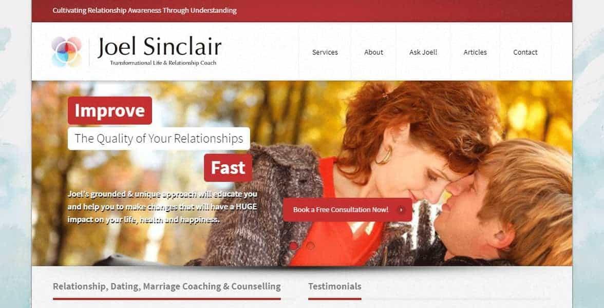 Screenshot of Joel Sinclair's website
