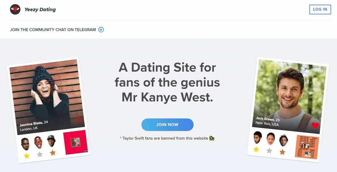 Screenshot of Yeezy.dating's homepage