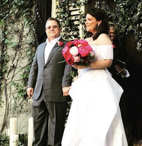 Photo of Patton Oswalt and Meredith Salenger on their wedding day