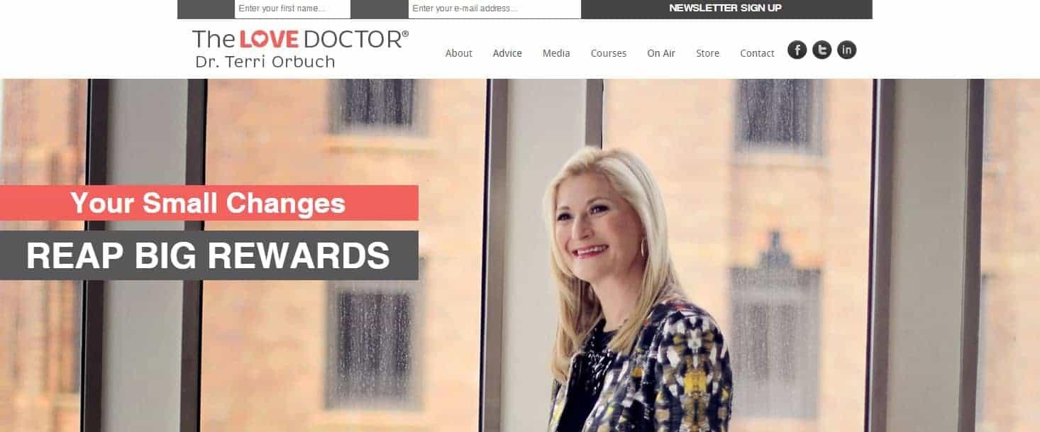 Screenshot of Dr. Terri Orbuch's homepage