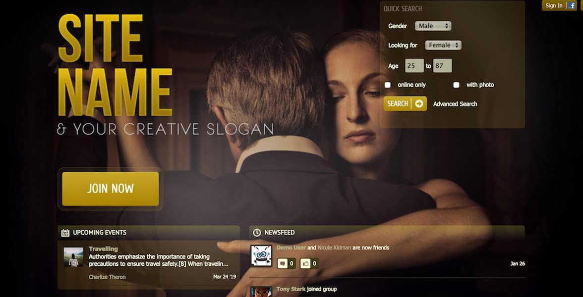 Example of a SkaDate website template