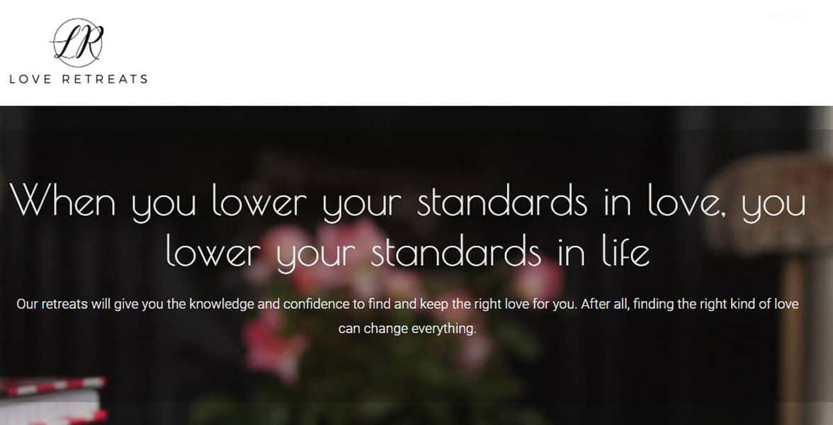 Screenshot of the Love Retreats website