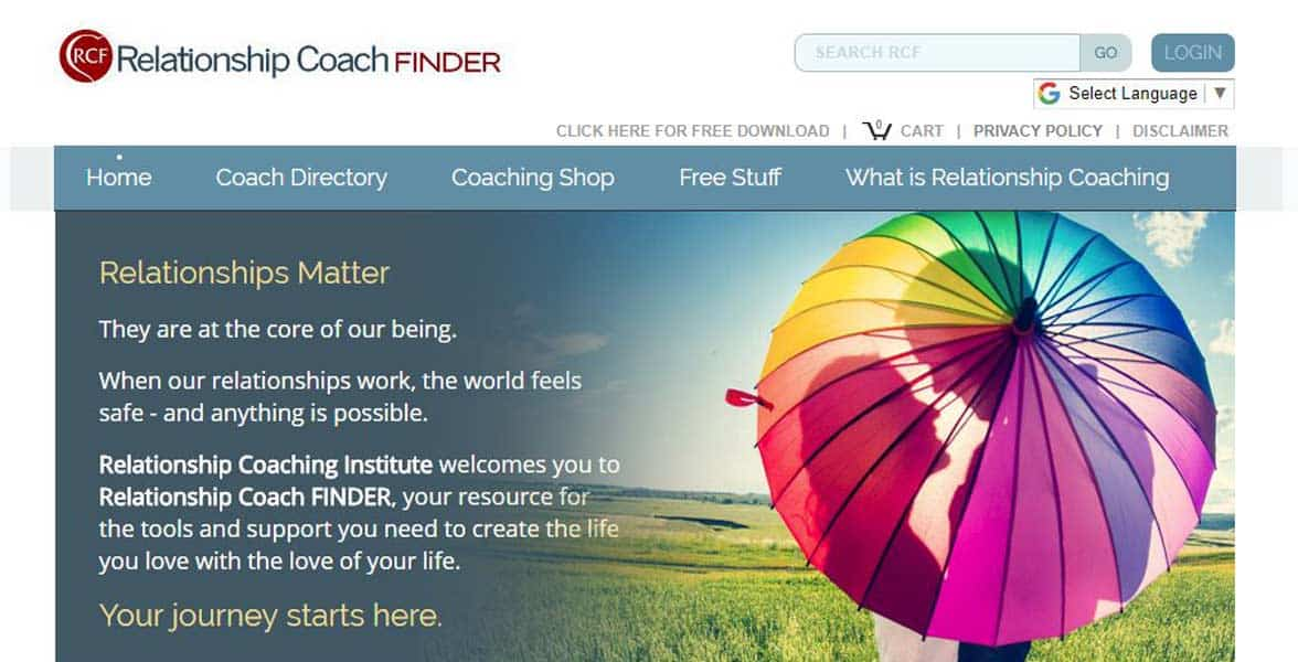 Screenshot of the Relationship Coach Finder website