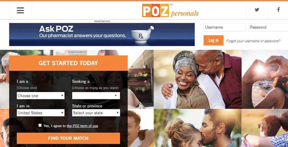 Screenshot of POZ Personals