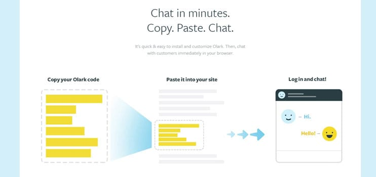 A screenshot of how to install Olark's live-chat widget