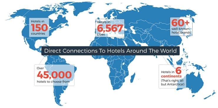 Graphic showing Room Key's worldwide footprint