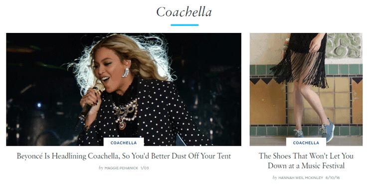 Screenshot from PopSugar's Coachella page