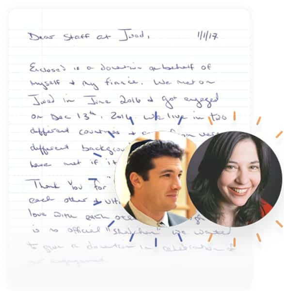 Photo of a thank-you letter sent to JWed