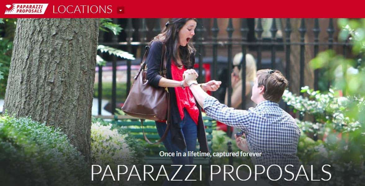 Screenshot of the Paparazzi Proposals website