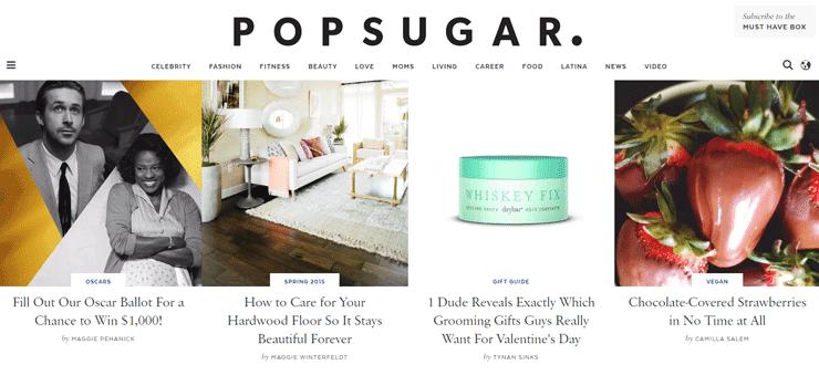 Screenshot of the PopSugar Homepage