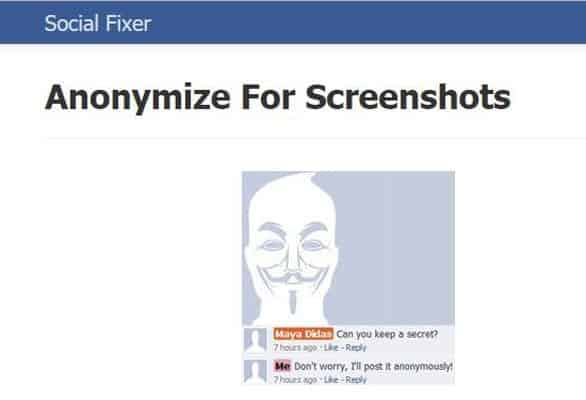 Screenshot of Social Fixer's anonymize tool