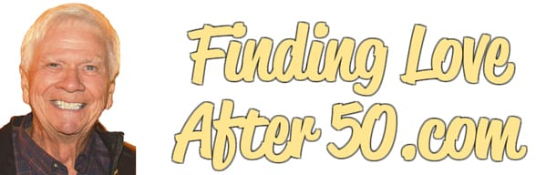 Screenshot of Tom Blake and the FindingLoveAfter50.com logo