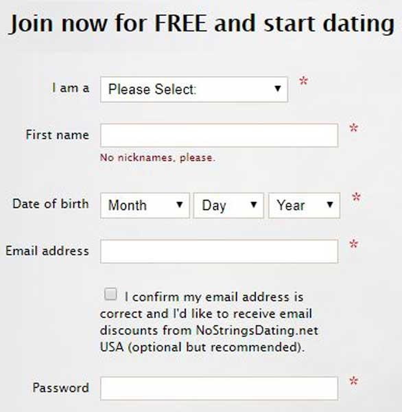 Screenshot of NoStringsDating.net's signup process